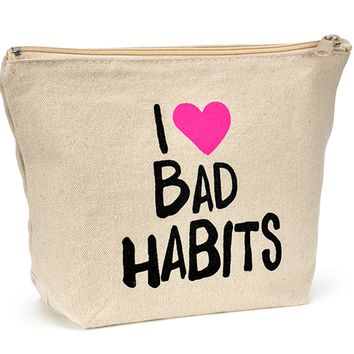 Canvas Zipper Makeup Bag - I (HEART) Bad Habits