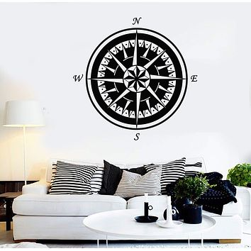 Vinyl Wall Decal Marine Nautical Compass Rose Sea Style Stickers Unique Gift (1460ig)