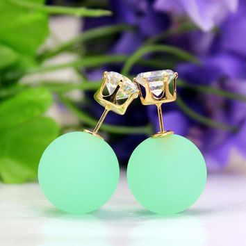PEAPON Candy-colored sided eraser bead earrings