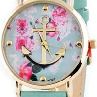 Mint Green Gold Pink Floral Anchor Nautical Soft Band Buckle Vintage Watch