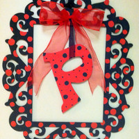 Red and Black Polka Dot Laser Cut  Frame Monogram Door Wreath or Wall Decor