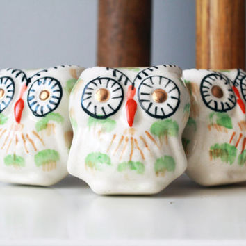 Large Owl Cabinet Knob Vintage Style Drawer Pull, Large Hand Painted Ceramic Door Knob