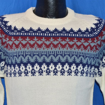 80s Off-White Snowflake Pattern Raglan Sleeve Ski Sweater Small