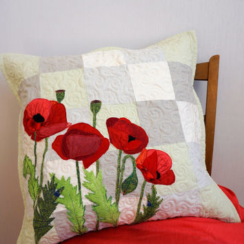 Unique Art Pillow, Decorative Floral Sofa Pillow, Red Poppy Pillow Cover, Patchwork Pillow Case, Accent Pillow, Pastel Pillow Cushion