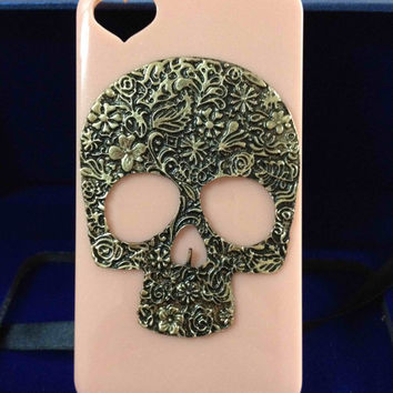 Bling iPhone Case with Steampunk Antique Skull Mask Accessories in Lt-Pink  for iPhone4, 4s, 5