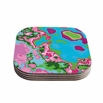 "Empire Ruhl ""Spring Agate Abstract"" Teal Pink Coasters (Set of 4)"