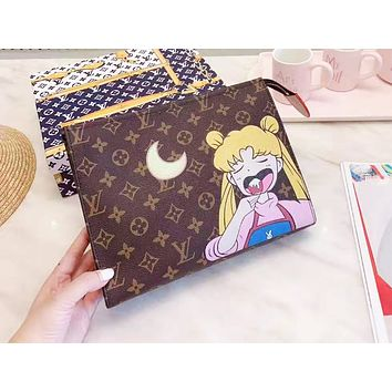 LV fashionable cartoon printed men and women best-selling hardware LOGO wide shoulder strap briefcase High quality