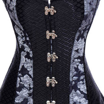 Black Floral Print Corset with Clasps