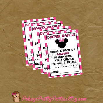 Diaper Raffle Pink MINNIE MOUSE Baby Shower - Instant Download