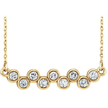 14 Karat Yellow Gold Diamond Bubble Bar Necklace