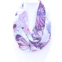Butterfly Scarf, Summer Infinity Scarf, Floral Scarf, Boho Chic Scarf, Spring Scarf, Chiffon Scarf, Bridesmaid Gift, Purple Infinity Scarf
