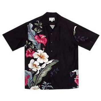 sweetheart black hawaiian aloha rayon shirt