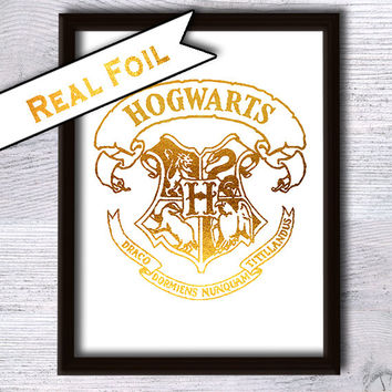 Hogwarts crest poster Harry Potter print Real gold foil decor Harry Potter real foil art Home decoration Kids room decor Wall art decor G11