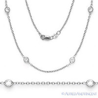 .925 Sterling Silver Cable CZ Crystal by Yard Bezel & Cable Link Chain Necklace