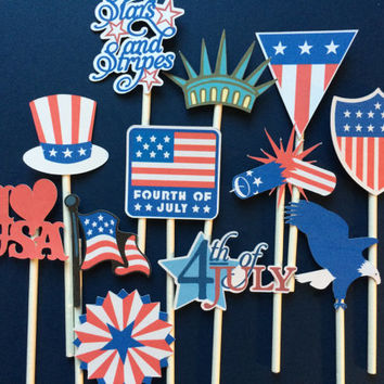 12 fourth of July cupcake toppers  or burger toppers, BBQ party toppers, BBQ party, 4th of July