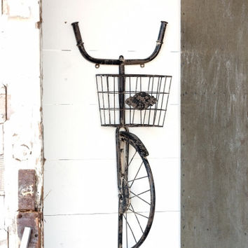 Antique Finish Vintage Bicycle with Open Weave Bike Basket Wall Decor