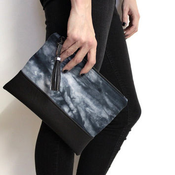 Black Tie Dye Clutch, Hand Dyed Purse, Shibori Bag, Black Tassel Bag, Gray Shibori Clutch, Hand Dyed Clutch, Black Shibori Clutch