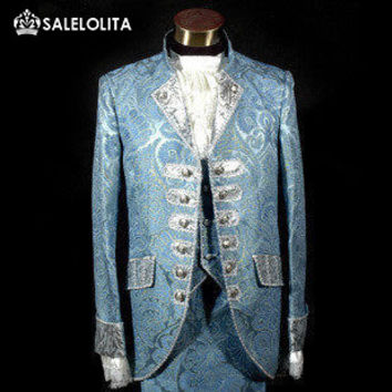 Blue Royal Mens Period Costume Medieval Renaissance Stage Performance Prince Charming Fairy Tale William Colonial Stage Costumes
