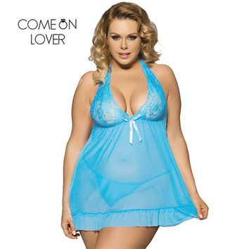RI70098 Comeonlover Plus Size Nightgowns See-Through Sexy Nightdress Camison De Dormir Halter Lace Romantic Women Sleepwear