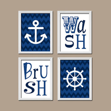 Nautical Bathroom Wall Art Canvas Artwork Navy Blue Chevron Anchor Wheel Shower Curtain Set of 4 Wash Brush Chevron Decor Color Match