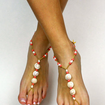 Coral Sea Shell Barefoot Sandals Shell Sandals Sea Shell Sandals Coral and Gold Anklet Coral Foot Jewelry Starfish Anklet Bare Foot Sandals