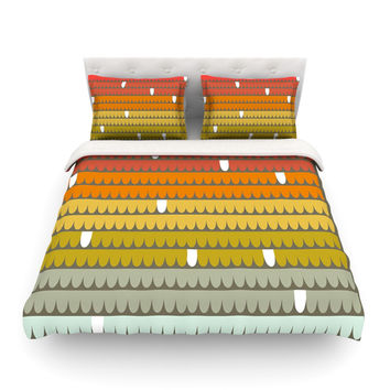 "Pellerina Design ""Rainbow Scallops"" Red Orange Featherweight Duvet Cover"