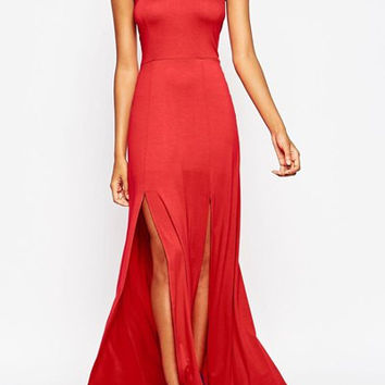 Red Halter High Slit Maxi Dress