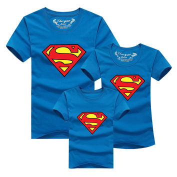 Family Matching Clothes Parent Kids Look Superman T Shirts Summer Father Mother Kids Cartoon Outfits New Cotton Tees Free Drop