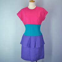 80s Dress Peplum Bold Color Block Pink Teal Purple Medium