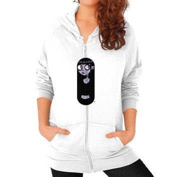 Mysterious Goth Girl Zip Hoodie (on woman) Shirt