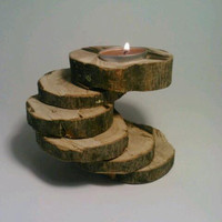 OOAK Log Tealight Candle Holder SixTiered by DeerwoodCreekGifts
