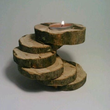 Candle Holder, Rustic Candle Holder, Tealight Candle Holder, Six-Tiered, Olive, Unique