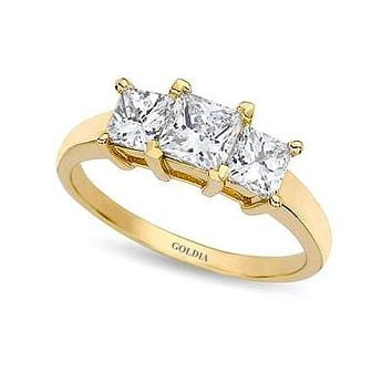 2 ct. Princess Cut Diamond Yellow Gold Three-stone Engagement Ring