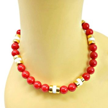 Napier Chunky Red Bead Necklace Long with White and Gold Rondelles 30 Inches Signed
