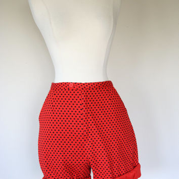 1960's red shorts, small shorts, size 6, high waist shorts, polka dot shorts, pockets, cotton shorts, black pattern, long shorts, lined.