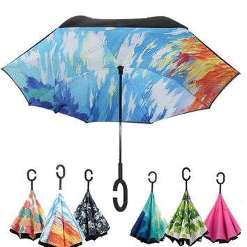Multiple colour folding Reverse Umbrella Double Layer Inverted Windproof Rain Car Umbrellas For Women Car accessories