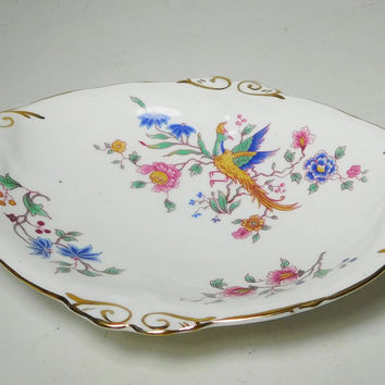 Small Oval Dish Gold Trim Bird of Paradise Hammersley Bone China Spode Jewelry Trinket Holder Candy Serving Tray Bohemian Gypsy Decor