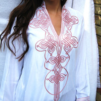 White Moroccan Bedouin Tunic- tunic, shirt, moroccan shirt, resort wear, lounge wear, beach wear, handmade tunic