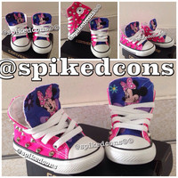 Minnie Mouse Character Converse with silver or gold studs 2c-10c