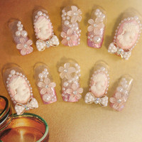 Bridal Wedding Nails - Vintage Wedding - Romantic Nail Art - 3D false fake press-on nail art - Japanese Nail Art - 3D Acrylic Nail Art