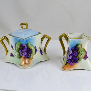 Czech Creamer Sugar - Hand Painted African Violets - Czechoslovakia - Gold Gilt Trim - Antique 1920s Epiag Royal