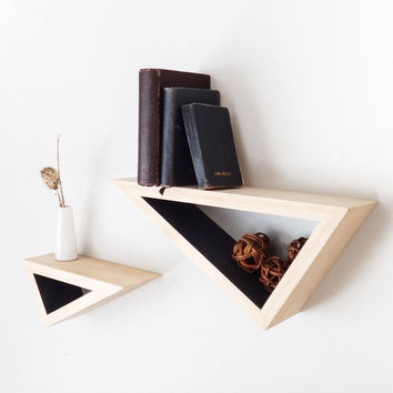 Set of Two: Triangular Floating Shelves w/ Contrast Paint