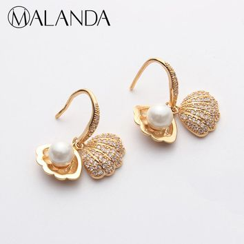 MALANDA Gold Color Shell Shape Drop Earrings For Women Fashion Top Round Pearl Dangle Earrings Piercing Jewelry Gift Accessories