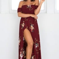 Lovestruck Maxi Dress in wine floral Produced By SHOWPO