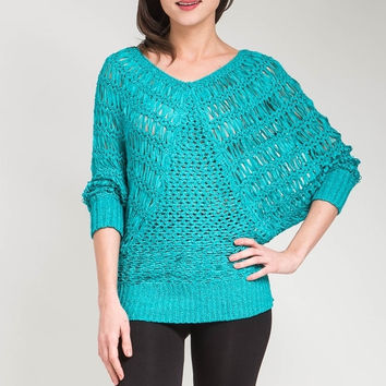 Banded Dolman Quarter Sleeve Top in Turquoise