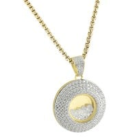 """Designer Circle Medallion Floating Stones Round Iced Out Pendant with Free 24"""" Steel Box Chain"""