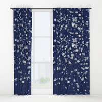 Snowflakes in space Window Curtains by anipani