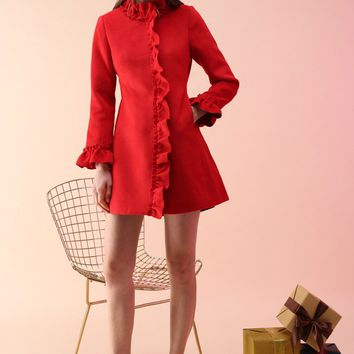 Rock With Ruffle Coat in Red