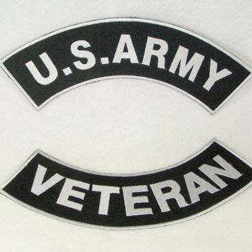 US ARMY VETERAN BACK PATCHES ROCKERS  FOR BIKER MOTORCYCLE VEST JACKET RED NEW