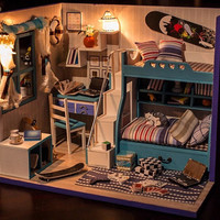 Miniature Dollhouse  DIY Kit  My Little Good Buddies Boys' Room with Light  Cute Room House Model